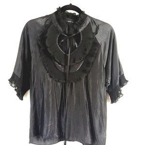 Ark & Co. Black Collar Ruffle Blouse